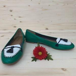 Talbots Emerald Green Leather Loafers